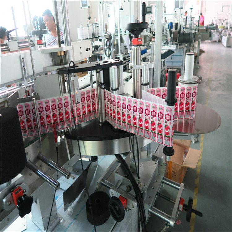 Апликатор за стикери с етикет за предна гръб и увийте около бутилката с етикет