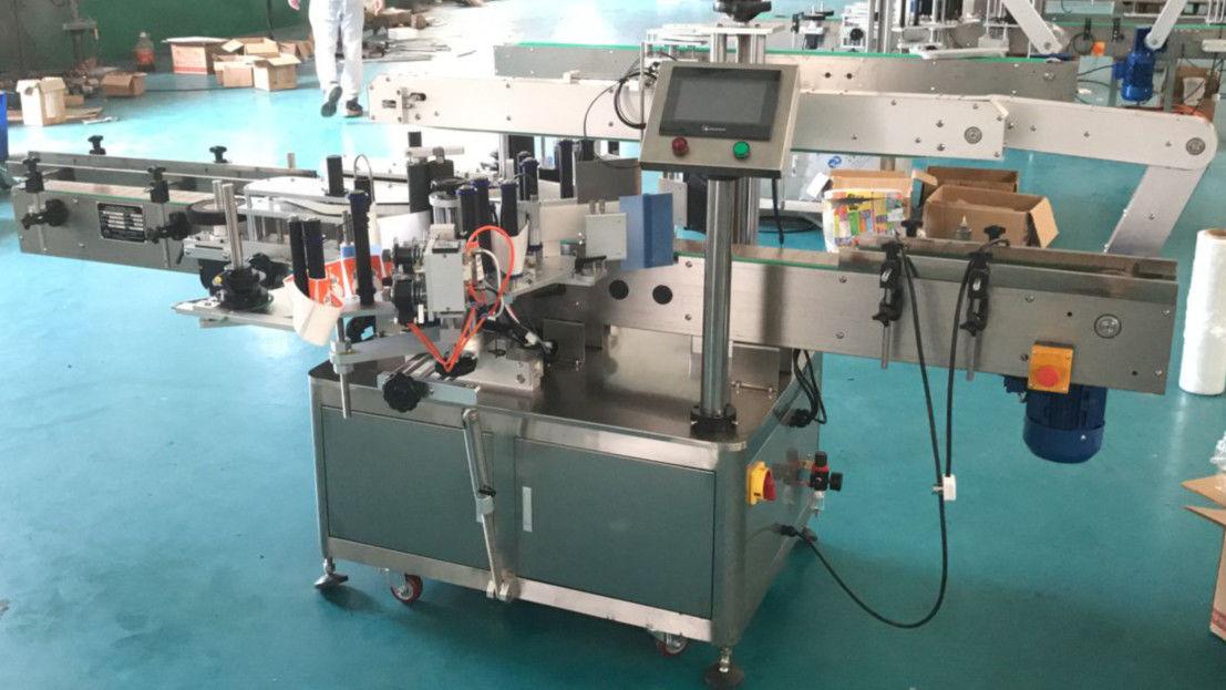 Машина за нанасяне на етикети отпред и отзад с коригиращ механизъм