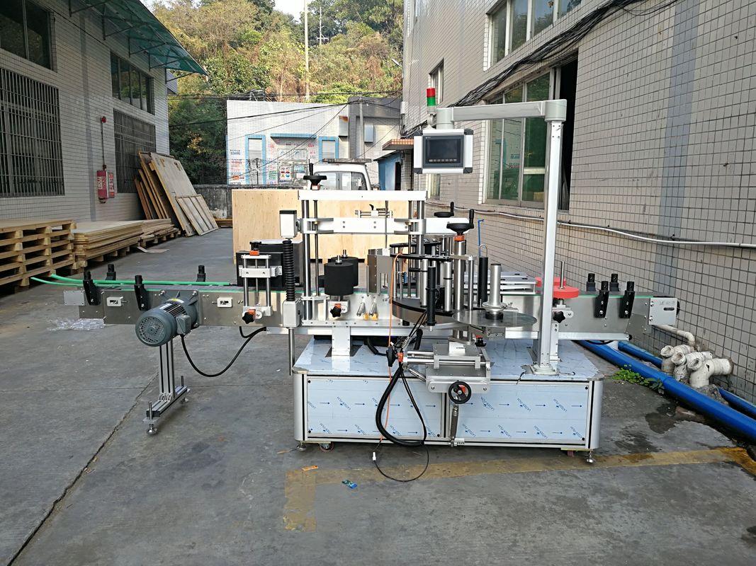 Автоматична машина за етикетиране на плоски бутилки, вградена отпред и отзад